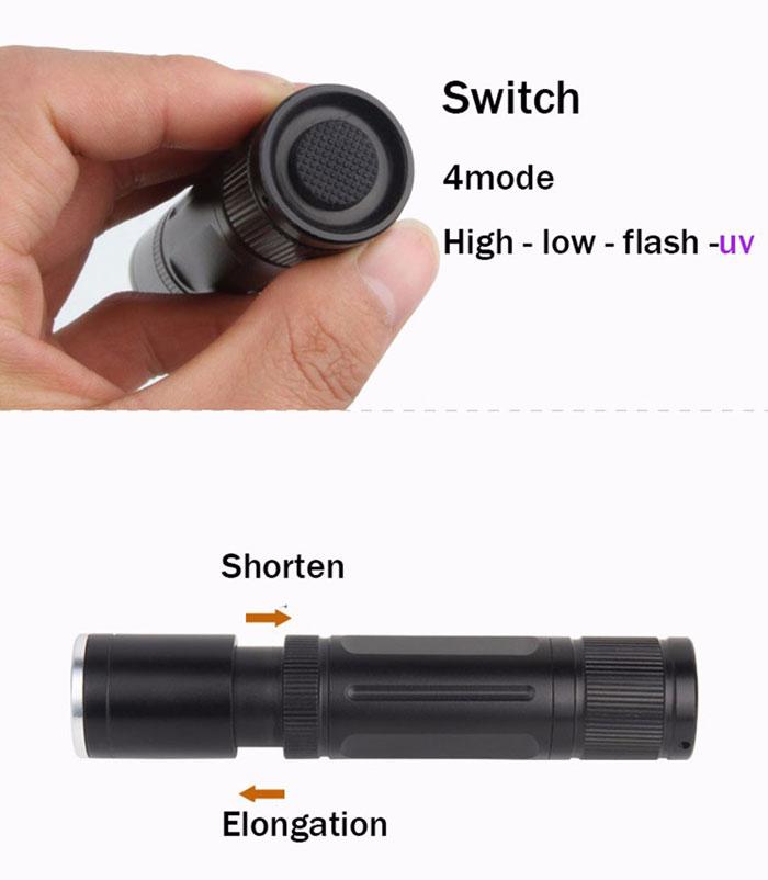 Công tắc ở phía nắp sau đèn và ấn nhé để chuyển đổi giữa 4 chế độ: High-low-flash-UV