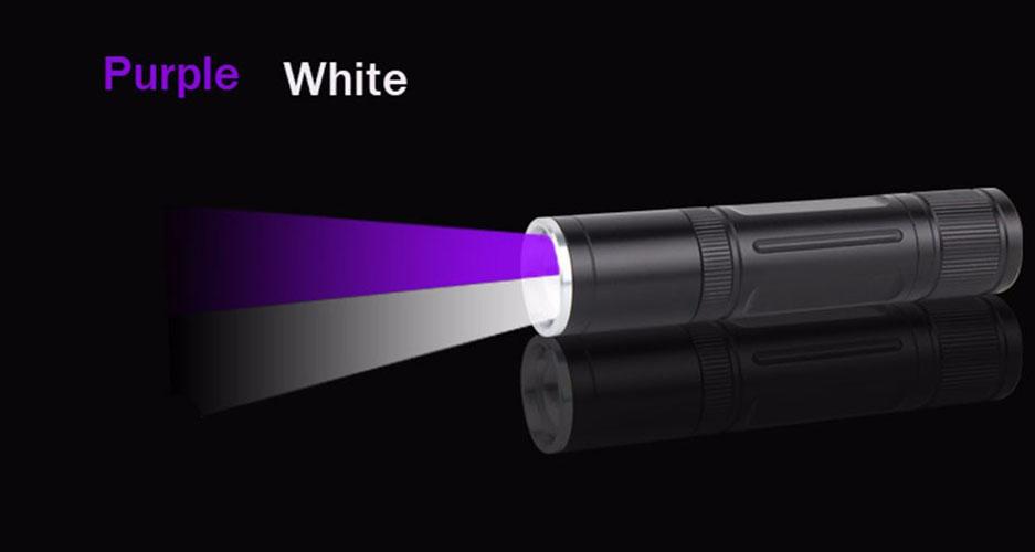 Đèn có 01 Bóng Cree Q5 ánh sáng trắng + 01 Bóng UV ánh sáng tím